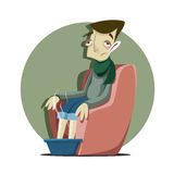 Man som är sjuk med influensan Fotografering för Bildbyråer
