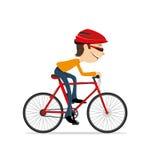 Man som rider en cykel Arkivbild