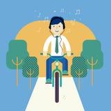 Man som rider en cykel Royaltyfria Foton