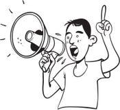 Man som ropar med megafonen Arkivbilder