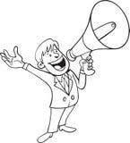 Man som ropar med megafonen Royaltyfri Fotografi