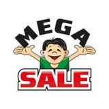 Man som rymmer bokstaven Mega försäljning Royaltyfri Foto
