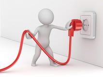 Man som rymmer elektrisk kabel Vektor Illustrationer