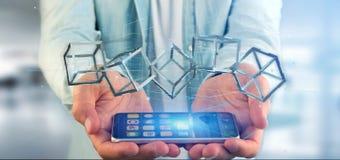 Man som rymmer en blockchainkub för tolkning 3d isolerad på en backgro Royaltyfria Bilder