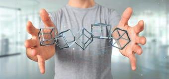 Man som rymmer en blockchainkub för tolkning 3d isolerad på en backgro Arkivfoton