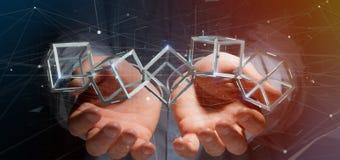 Man som rymmer en blockchainkub för tolkning 3d på en backgro Arkivbilder