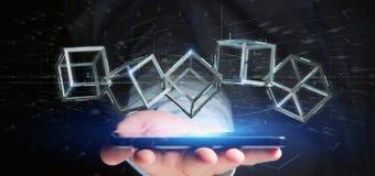 Man som rymmer en blockchainkub för tolkning 3d på en backgro royaltyfri bild