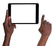 Man som rymmer en minnestavla isolerad på vit Arkivfoto