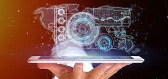 Man som rymmer en tolkning för teknologimanöverenhet 3d Royaltyfria Foton