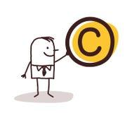 Man som rymmer ett Copyright symbol royaltyfri illustrationer