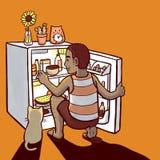 Man som söker för mat i mini- kyl vektor illustrationer