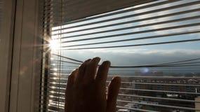Man som ser soluppgång Arkivbild