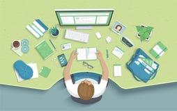 Man som sitter på tabellen och tagandeanmärkningarna Övervakar den skrivbords- Workspacefåtöljen för arbetsplatsen, kontorstillfö royaltyfri illustrationer
