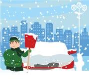 man som skyfflar snow vektor illustrationer