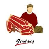 Man som spelar det traditionella musikinstrumentet för gendang vektor illustrationer