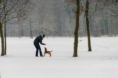 Man som spelar med hunden i snö Royaltyfri Fotografi