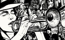 Man som spelar trumpeten i ett rött ljusområde stock illustrationer