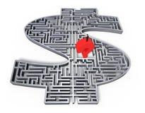 Man som står den röda mitten för labyrint för pengar för grå färger 3d för frågefläck Arkivfoton
