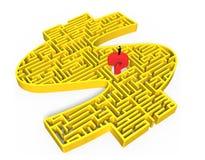 Man som står den röda mitten för labyrint för pengar för guling 3d för frågefläck Royaltyfri Foto