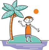 Man som strandas på den öde ön Royaltyfri Illustrationer