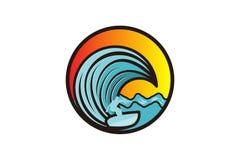 man som surfar och inspiration för våglogodesigner som isoleras på vit bakgrund stock illustrationer