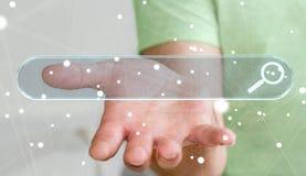 Man som surfar på internet genom att använda känsel- renderi för rengöringsdukadressstång 3D Fotografering för Bildbyråer