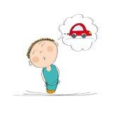Man som tänker av en ny bil royaltyfri illustrationer