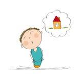 Man som tänker av ett nytt hus royaltyfri illustrationer