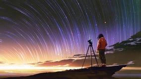 Man som tar bilden av soluppgånghimmel stock illustrationer