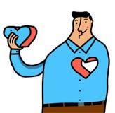 Man som tar bort hjärta Fotografering för Bildbyråer