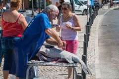 Man som tar bort vågen av en stor fisk i gatan Fotografering för Bildbyråer