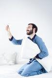 Man som tar en selfie Fotografering för Bildbyråer