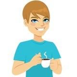 Man som tar kaffe stock illustrationer