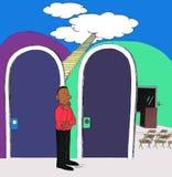 Man som väljer mellan himmel eller en föreläsning på den royaltyfri bild