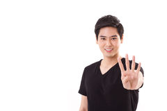man som visar för handtecken för 4 fingrar gest Royaltyfria Foton