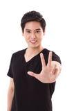 Man som visar för handtecken för 3 fingrar gest med tummen Royaltyfri Fotografi