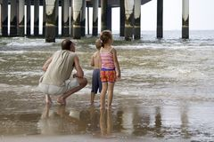 Man with son and daughter at the Pier in Scheveningen Stock Photo