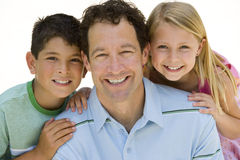Man with son and daughter smiling, portrait, close-up, cut out Royalty Free Stock Image