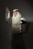 Man in sorcerer costume. A man in a sorcerer costume on a black background Stock Images