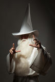 Man in sorcerer costume. A man in a sorcerer costume on a black background Stock Image