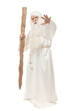 Man in sorcerer costume. On white background royalty free stock photo