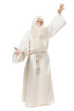 Man in sorcerer costume. On white background Stock Images