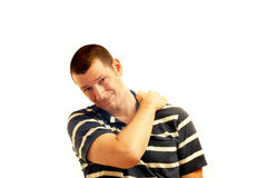 Man with sore neck and shoulders Royalty Free Stock Photos