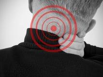 Man sore neck vertebral pain symptom illness stress scoliosis suffering inflammation. Man sore neck symptom vertebral suffering inflammation scoliosis spine royalty free stock photo