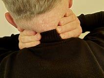 Man sore neck vertebral symptom illness stress scoliosis suffering inflammation. Man sore neck symptom vertebral suffering inflammation scoliosis spine illness stock photography