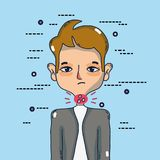 Man with sore throat infection symptoms virus. Vector illustration Stock Image