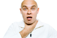 Man with a sore throat. Isolated on white. Studio Royalty Free Stock Photography