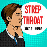 Man with sore throat pop art retro vector. Man with hard sore throat old comic book pop art retro style vector medical illustration Royalty Free Stock Photos