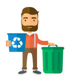 Man sorting a trash. A Caucasian standing outside the house sorting a trash and will throw to the barbage bin. Eco-friendly. A Contemporary style. flat design Royalty Free Stock Photo
