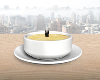 Man in soup bowl climbing ladder up Royalty Free Stock Photo